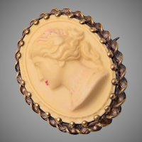 Celluloid Cameo Brooch