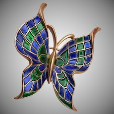 Trifari Blue and Green Enameled Butterfly Brooch