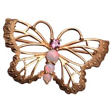 14kt Gold Butterfly With Opals