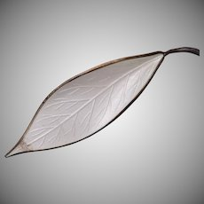 David Anderson Norway Sterling White Enameled Leaf Brooch