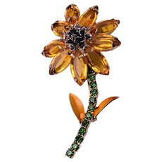 Topaz Daisy Brooch with Enameled Leaves
