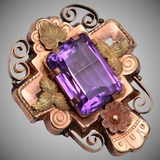 Vintage Brooch with Amethyst Stone