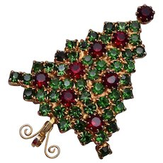 Red and Green Rhinestone Christmas Tree Brooch