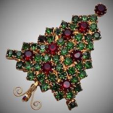 Red and Green Rhinestone Christmas Tree Brooch