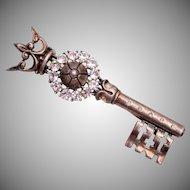 1947 Sterling Trifari Key and Crown Brooch