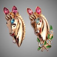 Pair of Coro Horse Head Brooches