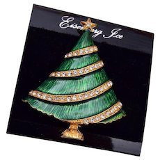 Eisenberg Ice Green Enameled Christmas Tree Brooch