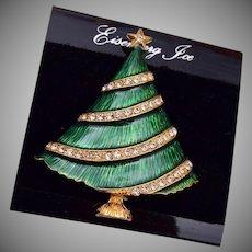 Eisenberg Ice Green Enameled Christmas Tree Brooch