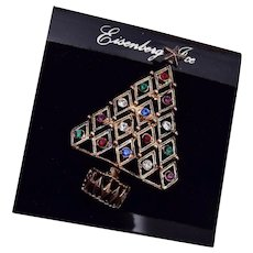 Eisenberg Ice Diamond Shaped Colorful Rhinestone Christmas Tree Brooch