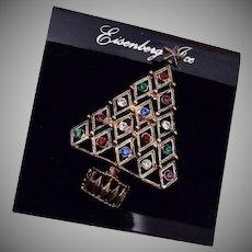 Eisenberg Ice Diamond Shaped Colorful Rhinestone Christmas Tree Brooch