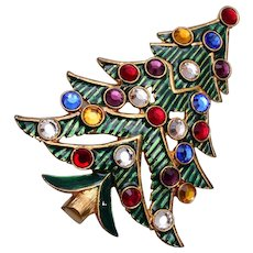Eisenberg Ice Green Enameled and Rhinestone Christmas Tree Brooch