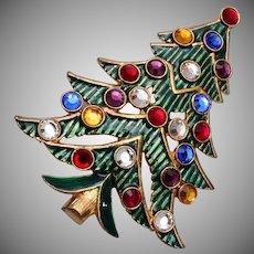 Eisenberg Ice Green Enameled and Rhinestone Christmas Tree Brooch
