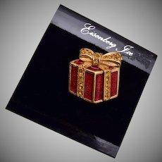 Eisenberg Ice Red Enameled Christmas Package Brooch