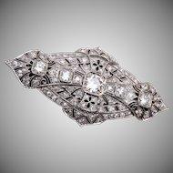 Platinum and Filigree Brooch with Diamonds