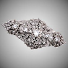 Platinum and Filigree Brooch with Diamonds