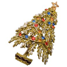 ART Flocked Christmas Tree Brooch