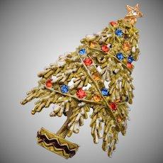 ART Flocked Christmas Tree Brooch