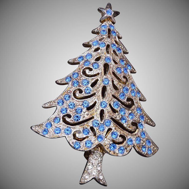 silver and blue christmas tree brooch - Silver And Blue Christmas Tree