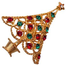 Eisenberg Ice Red and Green Rhinestone Christmas Tree