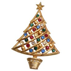Colorful Rhinestone Christmas Tree Brooch