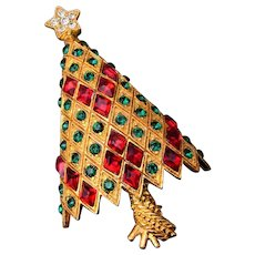 Eisenberg Ice Green and Red Christmas Tree Brooch