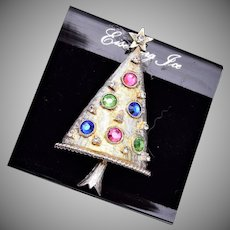 Eisenberg Ice Silver Christmas Tree Brooch