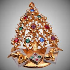 Eisenberg Ice Standing Christmas Tree and Packages Brooch