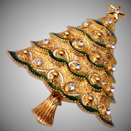 Eisenberg Ice Enameled Christmas Tree Brooch