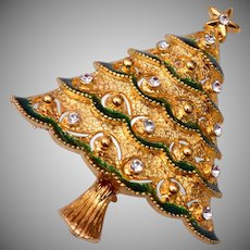 Eisenberg Ice Enameled Christmas Tree Brooch