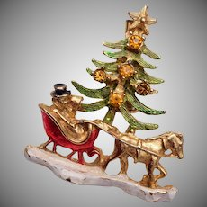 Christmas Tree, Sleigh and Horse Brooch