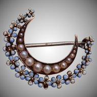 Victorian Pearl and Enameled Flower Brooch