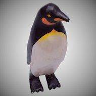 Painted Wooden Penguin Brooch