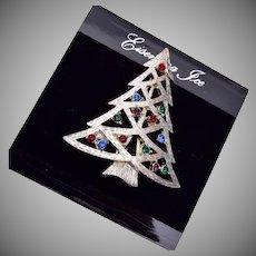 Eisenberg Ice Silver Christmas Tree Brooch