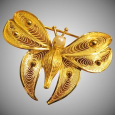 Lovely Vintage Gold Filled Butterfly CR Co.