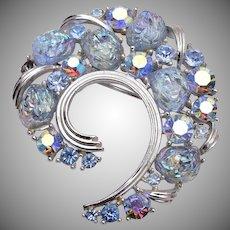 Lisner Blue Glass Lava Stone Brooch