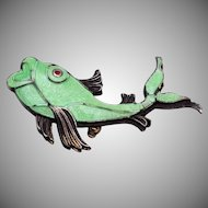 Green Enameled and Silver Fish Brooch