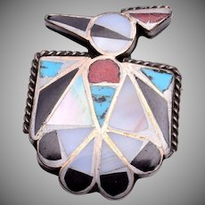 Zuni Thunderbird Inlaid Sterling Brooch