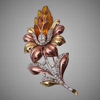 Trifari Rose Gold and Yellow Gold Flower Brooch 1940