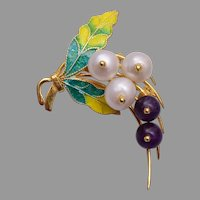 Sterling, Enamel, Real Pearls, and Amethyst Brooch or Pendant