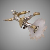 Lucite and Metal Ice Skater Figural Brooch