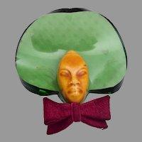 Elzac Green Bonnet Head Brooch