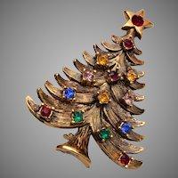 Christmas Tree Brooch with Colorful Rhinestones