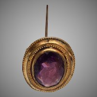 """Purple Faceted Glass Stone Hat Pin - 7-1/2"""""""