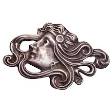 Art Nouveau Silver Brooch Woman with Flowing Hair
