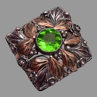 Hobe Sterling and Gold Filled Brooch with Green Stone 1941-1947