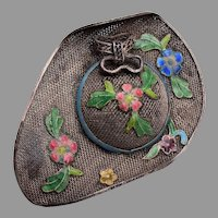 China  Sterling Filigree and Enamel Hat Brooch
