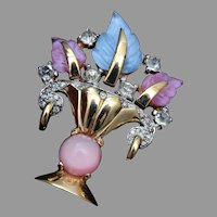 Mazer Pink and Blue Flower Basket Brooch