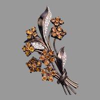 Trifari Sterling Flower Bouquet Fur Clip