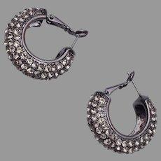 Pierced Rhinestone Hoop Earrings
