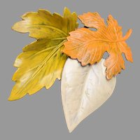 Fabulous ART Autumn Leaves Brooch and Necklace Set